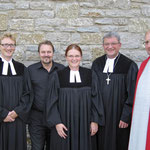 Von links: Pfarrer von Egidy, Vertrauensmann Armin Höfig, Pfarrerin K. Oldenburg, Dekan Dr. G. Breitenbach und Diakon G. Pfundt