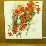 """""""Lilien"""", Bleistiftzeichnung mit Öl, von Maria Suppes"""