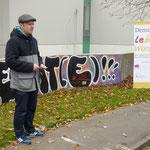 Am Wendeplatz in der Römer Straße begrüßte Herr Spehnkuch die Anwesenden und gab dabei einen kurzen Überblick über das Projekt