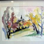 """""""Herbst in Burgbernheim"""", ein Aquarell von Ernst-Martin Eras"""