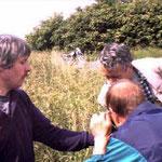 Dr. Roland Kunz präsentiert einen Käfer.