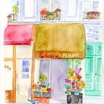 パリ・花屋とスクーター