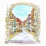 ドイツ・城門から続く街並み