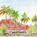 バリ島・ヤシの木とオレンジの屋根