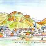 ドイツ・ライン河沿いの小さな街と葡萄畑