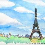 エッフェル塔とパリの空