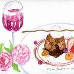 フォンダンショコラとワイン