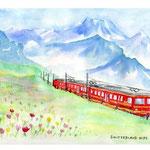スイス・アルプスユングラウヨッホの登山列車