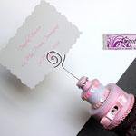 Tortina portafoto o memo in pannolenci bianco e rosa, strass e fiocchetto