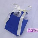 Art. 9 E-Borsettina blu con nastrino e gesso cuore
