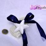 Art. 14 E-Portaconfetti juta con nastro in raso e gesso stella marina