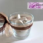 Art 3 D -bicchiere vetro con sali e conchiglie profumate