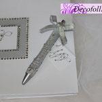 Guestbook bianco e argento, strass ed iniziali