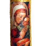 Tegola 45x20, icona madonna con bambino, bordo materico acrilico oro invecchiato a bitume, mini crepe, finale flatting gel