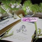 Libretto verde mela con sposini peynet