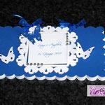 Guestbook in bianco e blu zaffiro, farfalline e strass