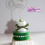 Tortine portafoto o memo in pannolenci verdi, base in ceramica