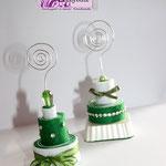 Tortine portafoto o memo in pannolenci verdi, base in ceramica o con pietra sfaccettata