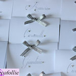 Cartoncino confettata strass e fiocchetto lamé