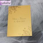 Libretto messa sposi oro metallico ghirigori e strass
