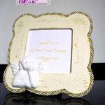 Cornicetta portafoto decapé shabby chic con gesso angioletto
