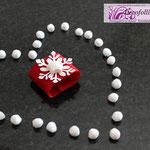 Art. 346 E portatovagliolo in feltro rosso con fiocco neve glitterato e gessetto