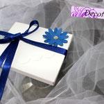 Art 1 D - scatolina portaconfetti, segnaposto, blu con strass
