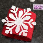 Art. 345 E portatovagliolo in feltro rosso con fiocco neve glitterato