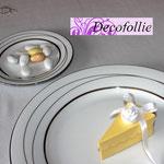 Scatolina portaconfetti  fetta di torta bianco e giallo con rosellina