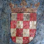 Изображение хорватского герба 1495 г. в г. Инсбрук, на своде дома городского судьи, Herzog-Friedrichstrasse 35.