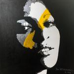 Portrait Pam Grier Acrylique sur toile 90x90 cm  © Julia Ratsimandresy