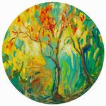 Herbstlüfterl II / Öl auf Leinwand / ø 80 cm