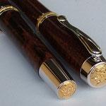 Füller (Füllhalter) mit Gravurrand Gold - Endkappen mit Klipp