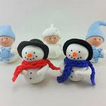 Tortenfigur Wichtel Schneeflocken und Schneemänner