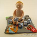 Tortenaufleger Baby auf Decke und Namenswürfel