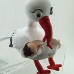 Tortenaufleger Storch mit Baby im Tuch