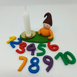 NEU Geburtstagswichtel mit Kerzentülle und Wechselzahlen 1-10