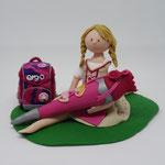 Tortenfigur Schulanfänger Mädchen Spagat