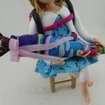 Tortenfigur Schulanfänger Mädchen sitzend