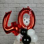 40 Zahlenballons in rot Luftbefüllt ca. 40vm hoch