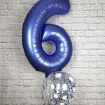 Zahlenballon Nummer 6 befüllt mit Helium-Konfettiballon z7um Geburtstag