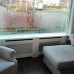 Door stefig op maat gemaakte radiator ombouw met geponst paneel.Gemonteerd in Barendrecht.