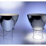 Lampe double / Inga Sempé / verre soufflé moulé à la canne, taille et argenture