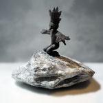 """""""Songe 5: L'Oiseau de Feu""""- grès noir, stéatite- hauteur totale 12cm"""