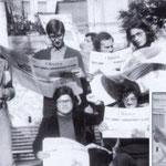Anni '70 I giovani comunisti col giornale dell'unità. Da sx, Alfonso Romio,Mimmo Federico,Leonardo Salimbeni,Armando De Rosis,Vincenzo Bonifiglio. Seduti,Franco Siynardi,Giorgio Malavolta, nel riquadro Giovanni Fiorenzuolo