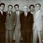 1952 - L'amministrazione comunale. Da sx Antonio Valente,Giulio Spezzano, l'on.Domenico Rizzi, Luigi Passerini, Raffaele Amato(sindaco), Antonio Festivo Candia, Antonio Gianzi(segretario comunale)