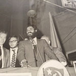 Anni '70 Piazza del Popolo(acquanova) un comizio dell'on. Pietro Ingrao(sulla dx Gabriele Meligeni)