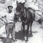 """fine anni '50 Il """"mulinaro"""", Giovanni Melieni, trasporta il grano appena sfarinato in uno dei mulini attivi sul Coriglianeto"""