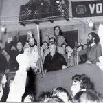 Fine anni '60. Comizio di Gabriele Meligeni del PCI in piazza del Popolo. Sul palco la grande donna Maria Costa
