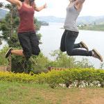 Elif und ich am Lake Bunyoniy